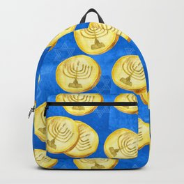 Hanukkah Gold Wrapped Chocolate Coins (Gelt) With Menorah Backpack