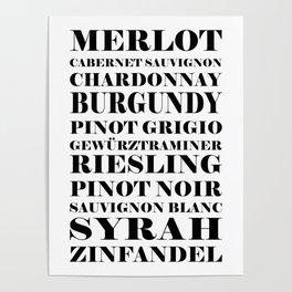 Wine Celebration - White Poster