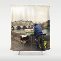 senna Shower Curtains featuring Paris Autumn Landscape by cinema4design