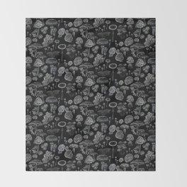 Mycology Black Throw Blanket