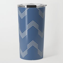 Simply Deconstructed Chevron White Gold Sands  on Aegean Blue Travel Mug