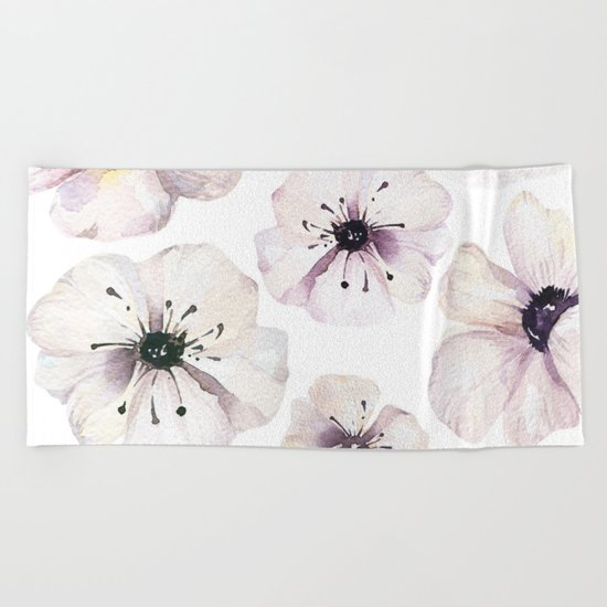 Moon flowers Beach Towel