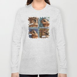 My Dog Says: Laughter, Love, Music, and Pizza! - Blue & Brown Palette Long Sleeve T-shirt