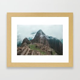 Ancient Inca ruins of Machu Picchu and surrounding Andes mountains in the early morning, Peru Framed Art Print