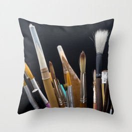 Art Tools Pencils and Brushes Throw Pillow