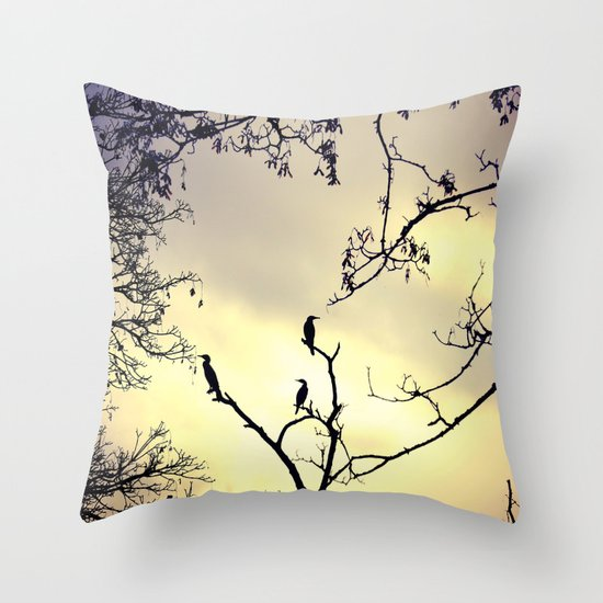 Cormorants at sunset Throw Pillow