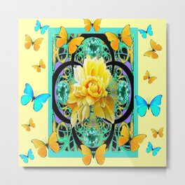 Yellow & Turquoise Butterflies & Rose Pattern Metal Print