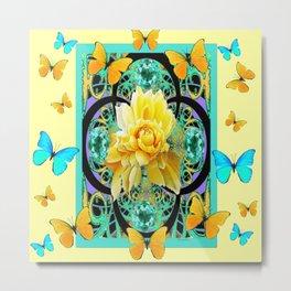 Yellow & Turquoise Butterflies & Rose Pattern Metal Print