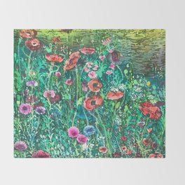 Poppies, Cornflowers and Spring Wildflowers at the Lagoon Throw Blanket