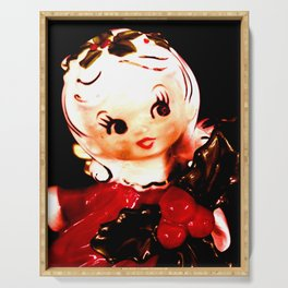 Red Christmas Girl Serving Tray