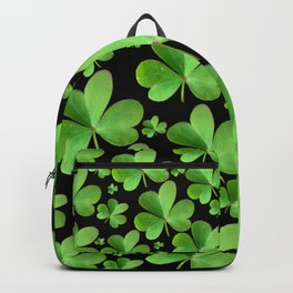 Clovers on Black Backpack