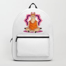 Llama with Headband Sitting and Meditating Funny Yoga Lover Backpack