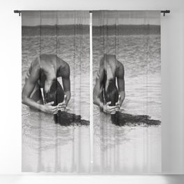 Nothing but tan lines, ocean, & beach female form black and white photography Blackout Curtain