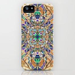Ornate Tan Blue and Green Mandala Magic Carpet iPhone Case