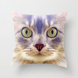 Meowface Throw Pillow