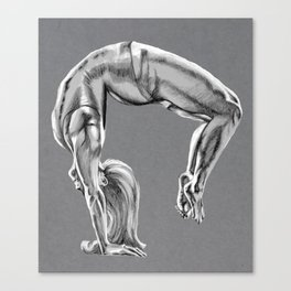Bend Over Backwards Greyscale Canvas Print