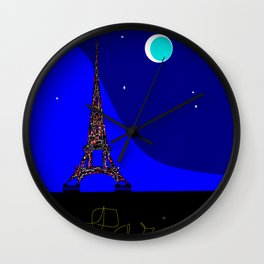 Paris at night in a Starry Sky Wall Clock