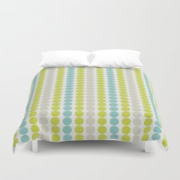Grey, Green and Blue Abstract Polka Dot Pattern Duvet Cover