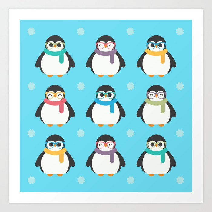 Cute Kawaii Cool Penguins Art Print