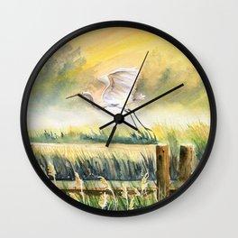 Egret Flying Over Marsh  Wall Clock
