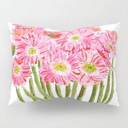 Pink Gerbera Daisy watercolor Pillow Sham