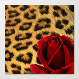 Leopard Print Red Rose Canvas Print