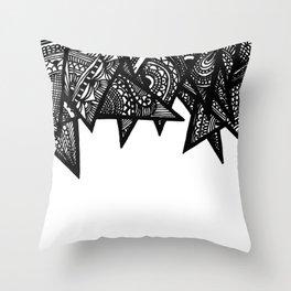 Triangle Henna Print- B+W Throw Pillow