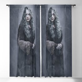 Azulin the Gray - Ghostly Forest Witch Blackout Curtain