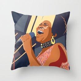 Aretha Franklin Portrait Throw Pillow