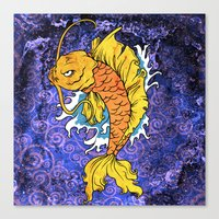 koi fish Canvas Prints featuring Koi Fish by Spooky Dooky