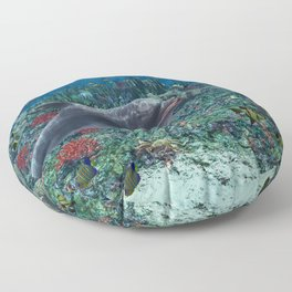 Dolphins play in the reef Floor Pillow
