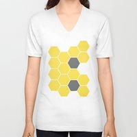 honeycomb V-neck T-shirts featuring Yellow Honeycomb by Cassia Beck