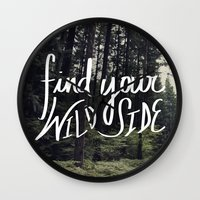 into the wild Wall Clocks featuring Wild by Leah Flores