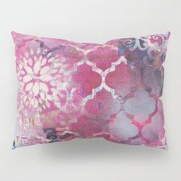 Mixed Media Layered Patterns - Deep Fuchsia Pillow Sham