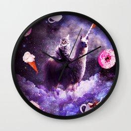 Outer Space Cat Riding Llama Unicorn - Donut Wall Clock