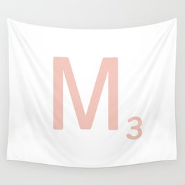 Pink Scrabble Letter M - Scrabble Tile Art and Accessories Wall Tapestry