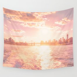 New York City Skyline Sunset Wall Tapestry