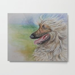 AFGHAN HOUND Dog Portrait Watecolor painting Metal Print