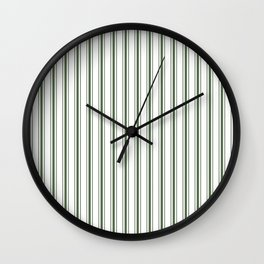 Large Dark Forest Green and White Mattress Ticking Stripes Wall Clock