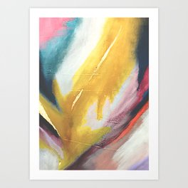 Ambition: a colorful abstract piece in bold yellow, blue, pink, red, and gold Art Print