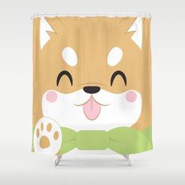 Shiba Inu Block Shower Curtain