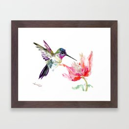 Little Hummingbird and Pink Flower, Bird art, minimalist bird painting, soft pink olive green design Framed Art Print