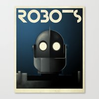 iron giant Canvas Prints featuring Robots - Iron Giant by Greg-guillemin