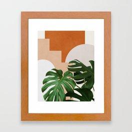Abstract shapes art, Tropical leaves, Plant, Mid century modern art Framed Art Print