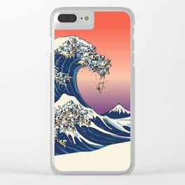 The Great Wave of Pugs / Square Clear iPhone Case