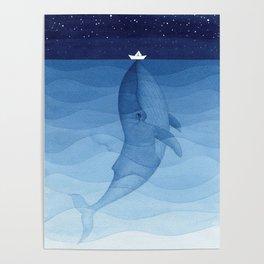 Whale blue ocean Poster
