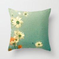 daisy Throw Pillows featuring Daisy by Cassia Beck