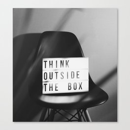 Think Outside the Box (Black and White) Canvas Print