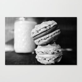 Beer Macarons in Black and White - Close-up Canvas Print
