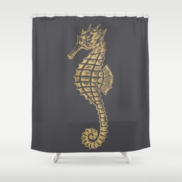 Gold seahorse on grey pinstripe Shower Curtain